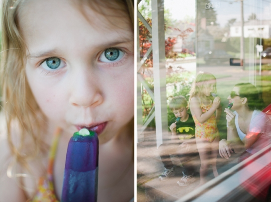 Girl with Popsicle through window