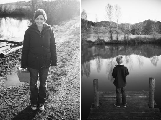 woman and boy fishing trip
