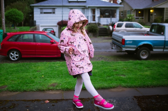 new Hot pink shoes girl in a horse raincoat