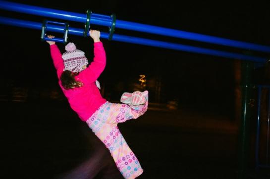 girl playground night