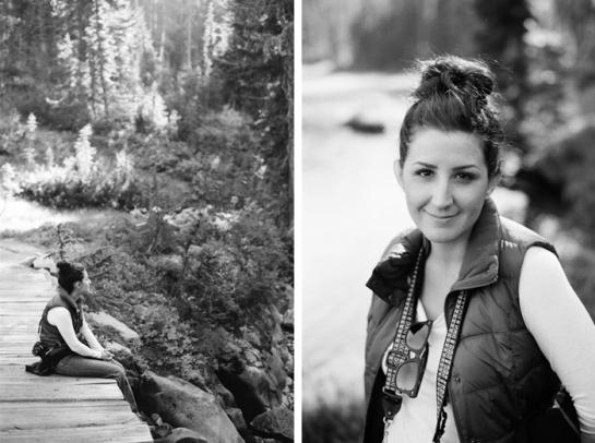 black and white hike bridge sitting