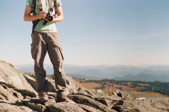 film camera hiker