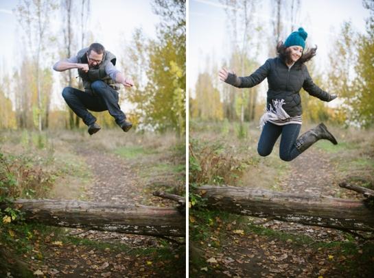 woman and man jumping