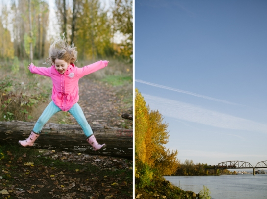 little girl in pink jumping